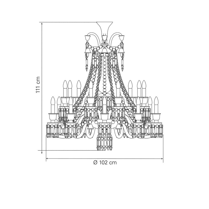 ZÉNITH CHANDELIER 8 TO 24 LIGHTS, Black