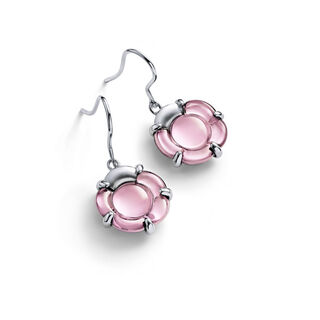 B FLOWER EARRINGS, Light pink mirror
