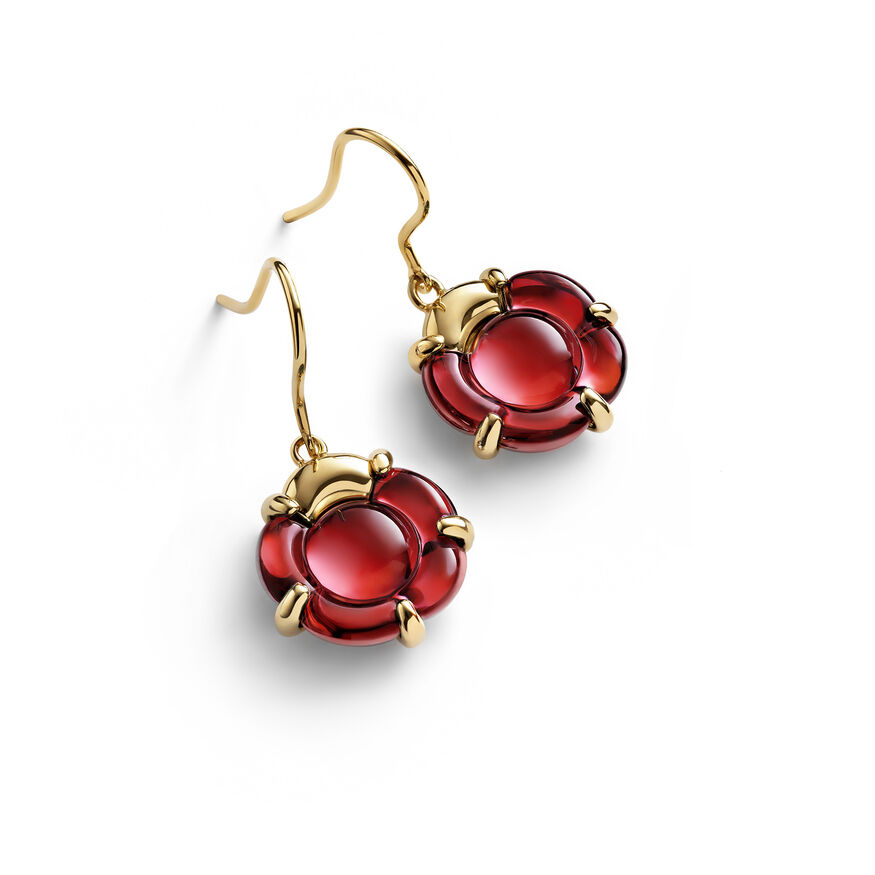 B FLOWER EARRINGS  Red mirror